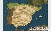 Satellite Map of Spain, darken