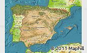 Satellite Map of Spain, physical outside, satellite sea