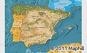 Satellite Map of Spain, political shades outside, satellite sea