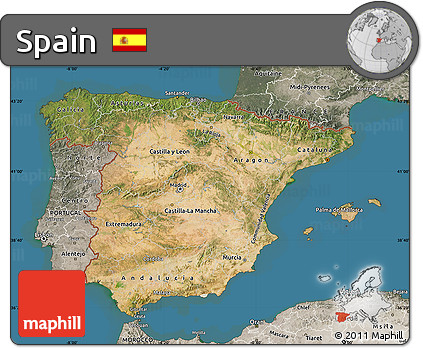 Satellite Map Of Spain.Free Satellite Map Of Spain Semi Desaturated Land Only