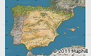 Satellite Map of Spain, semi-desaturated, land only