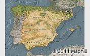 Satellite Map of Spain, semi-desaturated