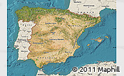 Satellite Map of Spain, shaded relief outside, satellite sea