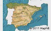 Satellite Map of Spain, single color outside