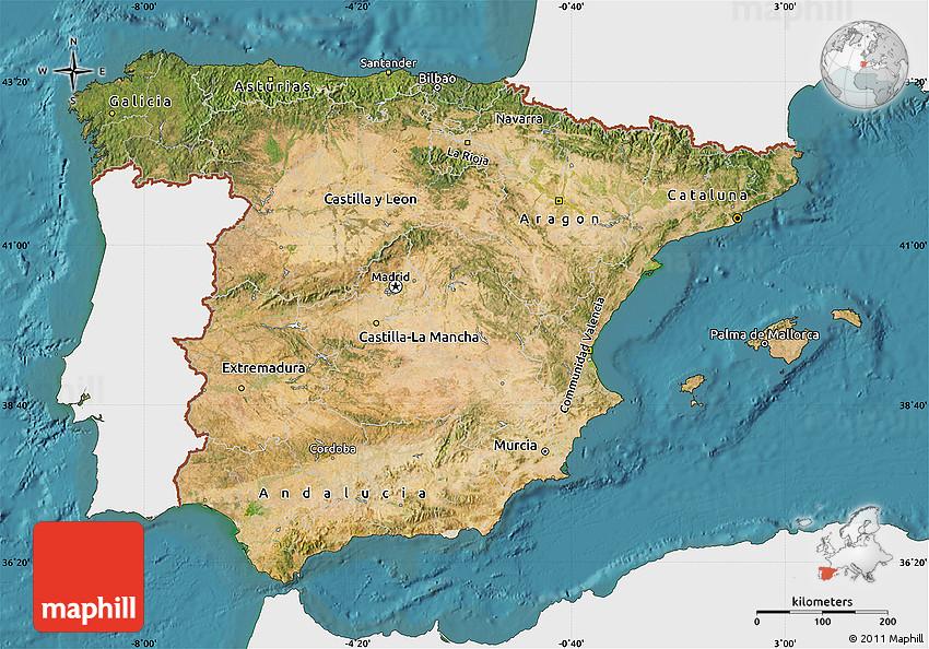 Satellite Map Of Spain.Satellite Map Of Spain Single Color Outside