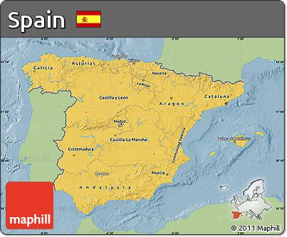 Savanna Style Map of Spain, single color outside