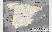 Shaded Relief Map of Spain, darken, desaturated