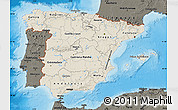 Shaded Relief Map of Spain, darken, land only