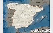 Shaded Relief Map of Spain, darken