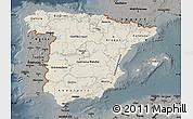 Shaded Relief Map of Spain, darken, semi-desaturated