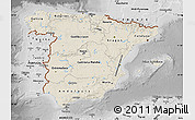 Shaded Relief Map of Spain, desaturated