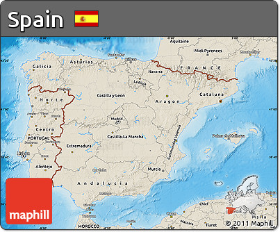 Shaded Relief Map of Spain