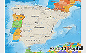 Shaded Relief Map of Spain, political outside, shaded relief sea