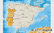 Shaded Relief Map of Spain, political shades outside