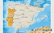 Shaded Relief Map of Spain, political shades outside, shaded relief sea