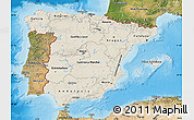 Shaded Relief Map of Spain, satellite outside, shaded relief sea