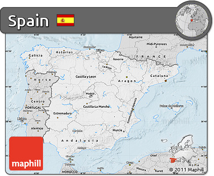 Silver Style Map of Spain