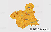 Political 3D Map of Murcia, cropped outside