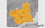 Political 3D Map of Murcia, desaturated