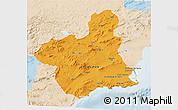 Political 3D Map of Murcia, lighten