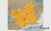 Political 3D Map of Murcia, semi-desaturated