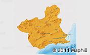 Political 3D Map of Murcia, single color outside