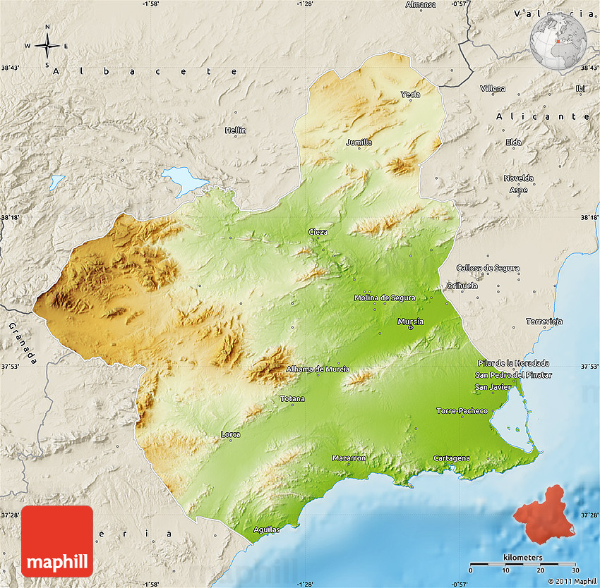 Murcia Map Of Spain.Physical Map Of Murcia Shaded Relief Outside