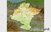 Physical 3D Map of Navarra, darken