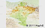 Physical 3D Map of Navarra, lighten