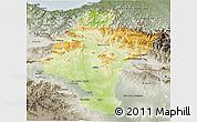 Physical 3D Map of Navarra, semi-desaturated