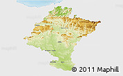 Physical 3D Map of Navarra, single color outside