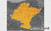 Political 3D Map of Navarra, darken, desaturated