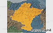 Political 3D Map of Navarra, darken, semi-desaturated