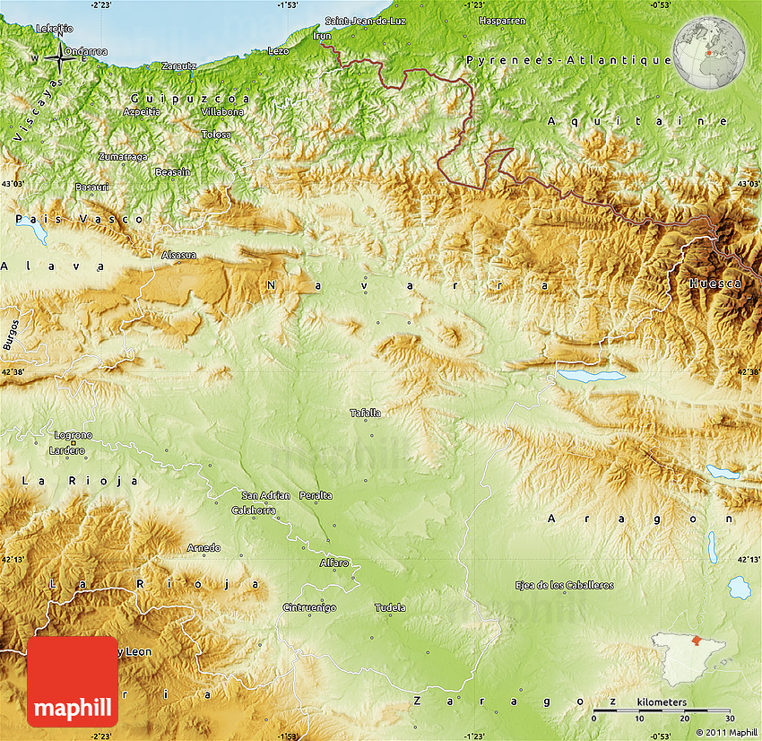 Map Of Spain Navarra.Physical Map Of Navarra