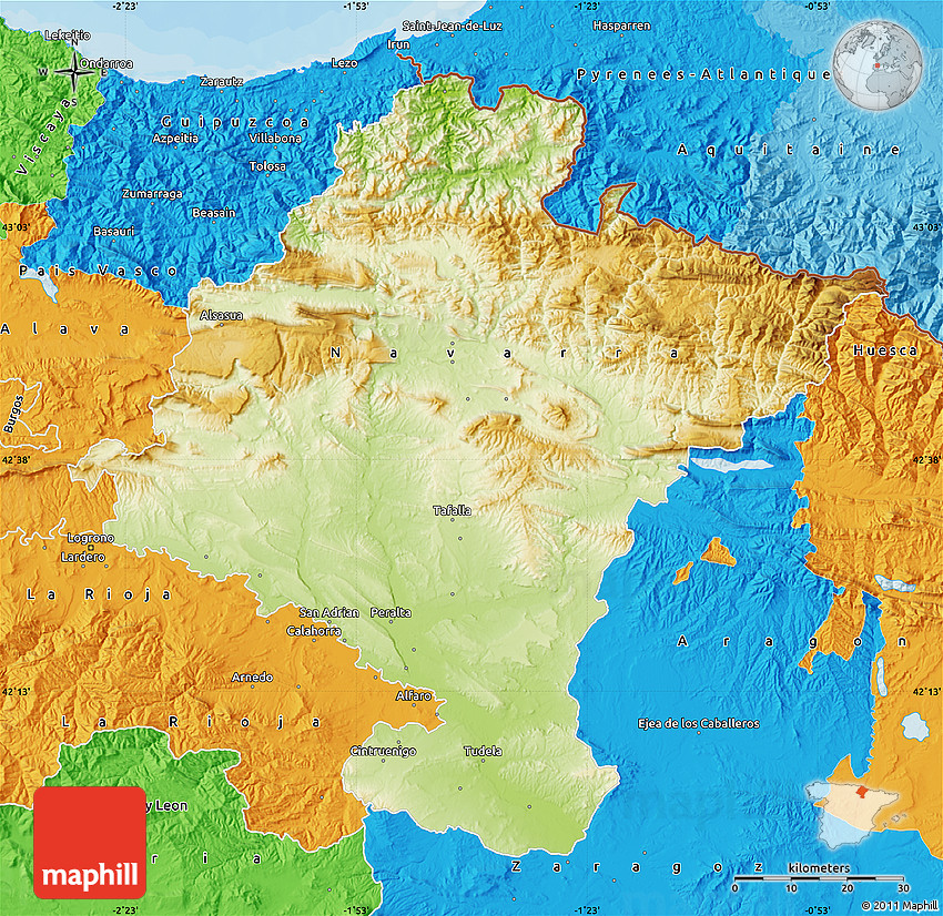 Map Of Spain Navarra.Physical Map Of Navarra Political Outside