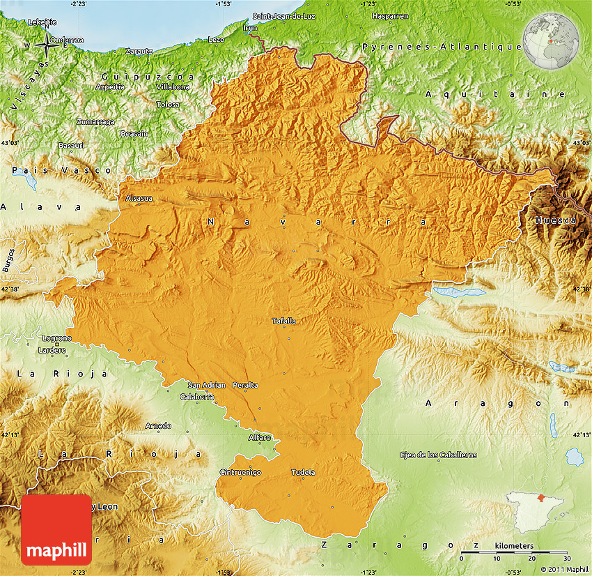 Map Of Spain Navarra.Political Map Of Navarra Physical Outside