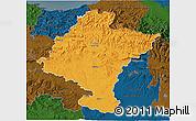 Political 3D Map of Navarra, darken