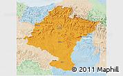 Political 3D Map of Navarra, lighten