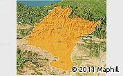 Political 3D Map of Navarra, satellite outside