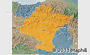 Political 3D Map of Navarra, semi-desaturated