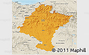 Political 3D Map of Navarra, shaded relief outside