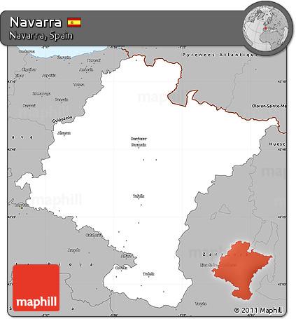 Free Gray Simple Map Of Navarra