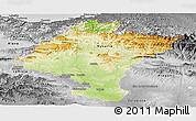Physical Panoramic Map of Navarra, desaturated