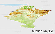 Physical Panoramic Map of Navarra, single color outside