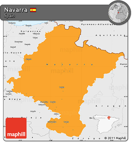 Free Political Simple Map Of Navarra Single Color Outside Borders
