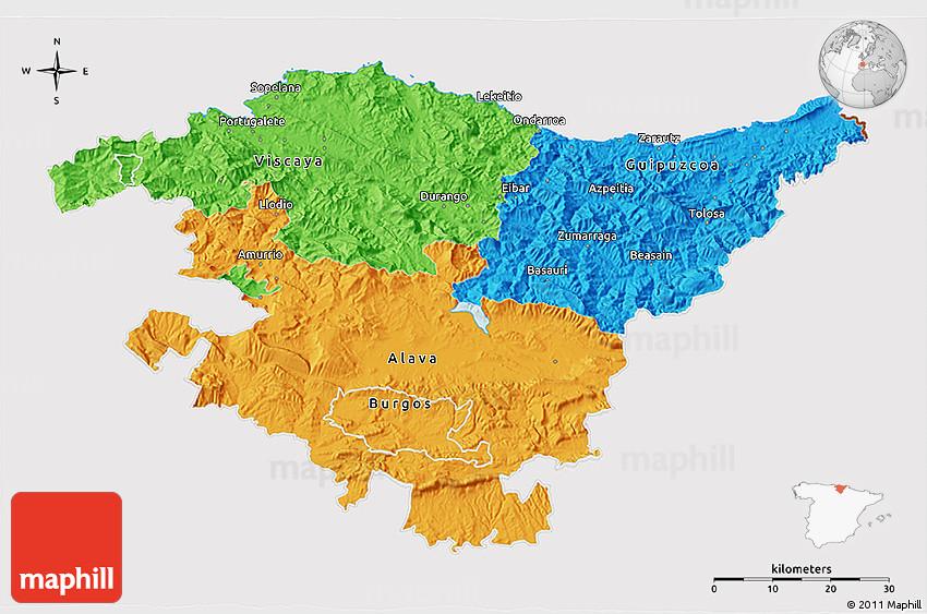 Map Of Spain Eibar.Political 3d Map Of Pais Vasco Cropped Outside