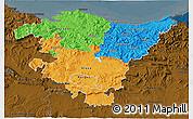 Political 3D Map of País Vasco, darken