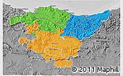 Political 3D Map of País Vasco, desaturated