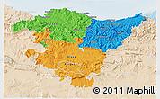 Political 3D Map of País Vasco, lighten
