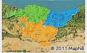 Political 3D Map of País Vasco, satellite outside